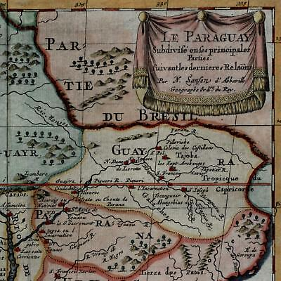 Argentina Uruguay Buenos Aires South America 1699 Sanson beautiful old map