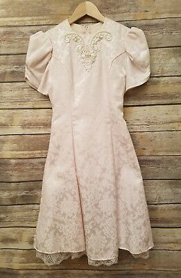 Gunne Sax Dress Vintage Girls Size 16 Light Pink Jacquard Floral Pearl Holiday