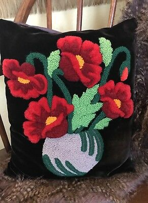 Antique Pillow Vintage Wool Chenille Tufting Basket Of Flowers Design