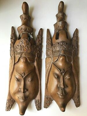 Southeast Asian Carved Wood Antique Pair Of Masks Beautiful