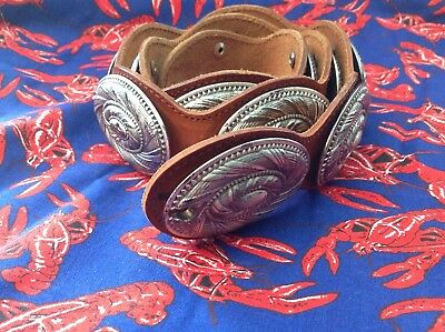 Vintage, 6/1987 Western, Spain Made Leather Concho Belt, Needs Tie Straps
