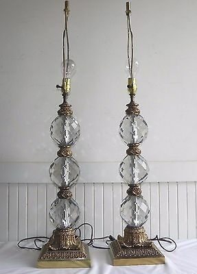 """Vintage Pair of 39"""" Art Deco Crystal Ball Sphere Lamps 3 Stacked Faceted Gold"""