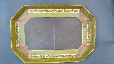 antique primitive tin tole tray hand painted octagon coffin new england 19th c