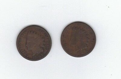 """Post Civil War Era Two coin lot of IHP 1887 & 1888 pennies BN Indian Cent """"Offer"""