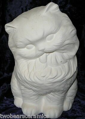 Ceramic Ready to Paint Large Persian Kitten tongue out