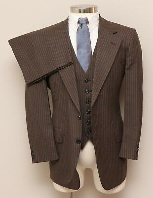 Vintage Mens 40S Hart Schaffner Marx 3 Piece Brown Pinstripe Wool Suit