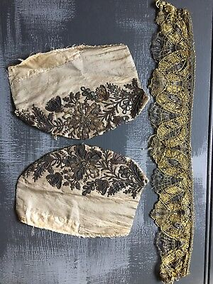 19th Century Antique Gold Metallic Embroidered Silk German Folk Bonnet Cap Trim
