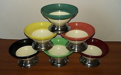 Vintage Retro Set of Six Harlequin Fresco Ware Sundae Dishes by Sydenham