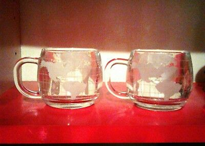 "2 Nestle World Map Globe Heavy Clear Glass Cups Coffee Tea Mugs 3"" Etched Drink"