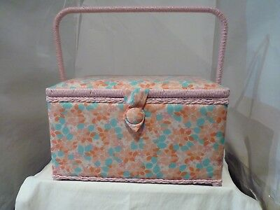 Large Craft Padded Pink & Aqua Sewing Box New With Handle And Compartment Box
