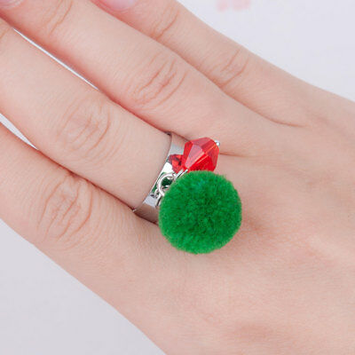 Christmas Adjustable Ring, Pom Pom & Bead Detail, Gift Bag, Same Day Postage