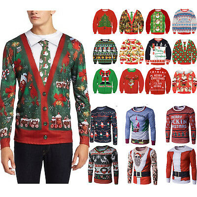 Unisex Womens Christmas Xmas Pattern Knitted Santa Knitted Jumper Sweater Tops