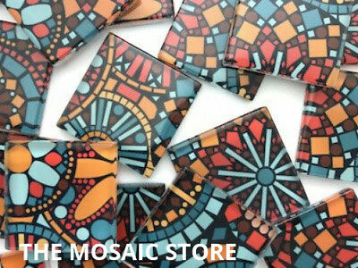 Abstract Patterned Handmade Glass Mosaic Tiles 2.5cm - Art Craft Supplies
