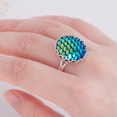 Blue Mermaid Fish Scale Adjustable Ring With  Gift Bag, Same Day Free  Postage