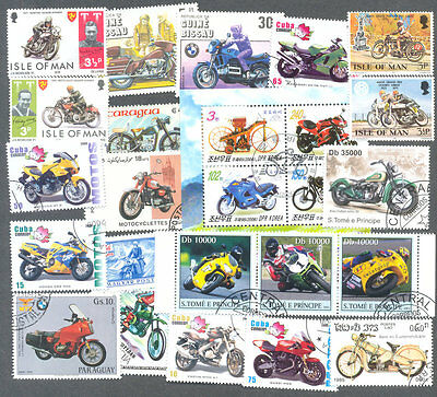 Motorcycles-Motorbikes-100 all different stamp packet collection