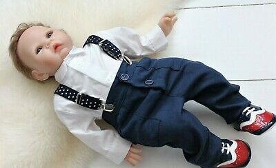 Baby Boy Christmas Smart Outfit Navy Trousers Braces White Bodysuit