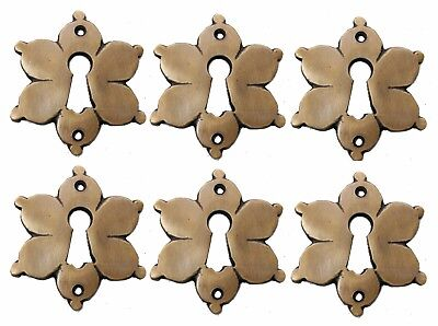 Solid Brass Star Keyhole Escutcheons Set of 6 PCS