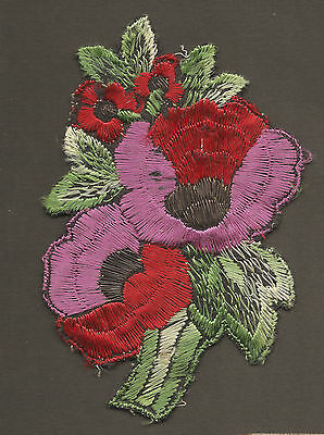 Vintage/antique early 1900s woven silk applique-use in crazy quilt- FLOWERS #4