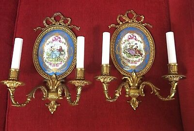 Vintage French Porcelain Sevres Style Bronze Wall Sconce Celeste Blue No Crystal