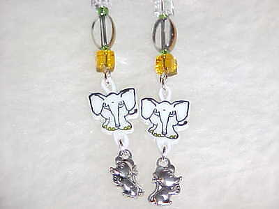 ELEPHANT Pierced Earrings - Unique Handmade Animal Jewelry - W/ MOUSE PACHYDERMS