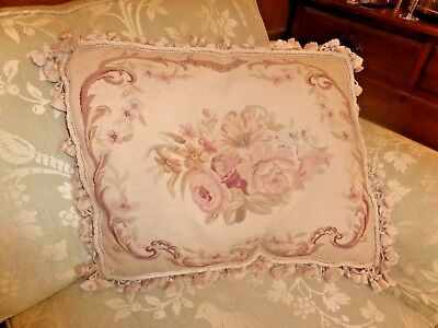 "VINTAGE Hand Made NEEDLEPOINT TAPESTRY AUBUSSON very large CUSHION 22""x17.5""  C"