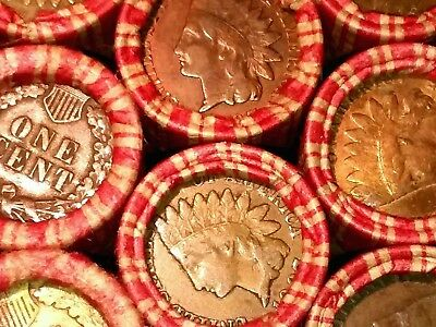 One UNSEARCHED Lincoln Wheat Cent Penny Roll  Indian Head BOTH ENDS        FP38