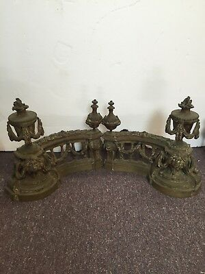 Pair of Early 19th C. French bronze ornate chenets