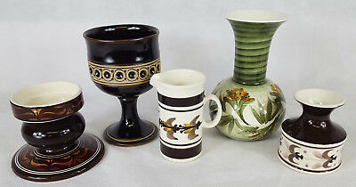 Selection Of Jersey Pottery, Vase, Pot, Cup, Jug, Candlestick Holder, Job Lot.
