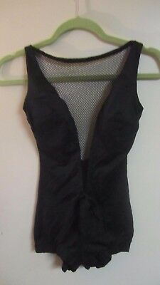 COLE of California Vintage Black Bathing Suit w/ Sheer mesh Insert M