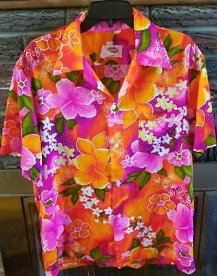Pomare Men's Vintage 1970s Hawaiian button down shirt Size large