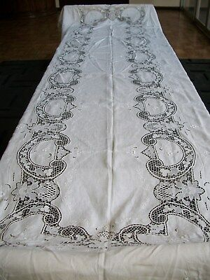 Elegant Large Swiss Tablecloth 14' X 5-1/2' -24 Napkins. Never Used. Lucerne