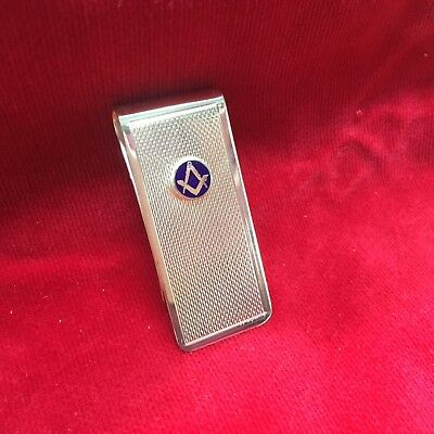Money clip Masonic Square and Compass blue enamel s&c silver plate