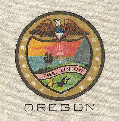 Vintage tobacco cigarette silk - use in crazy quilt - US STATE SEAL - OREGON