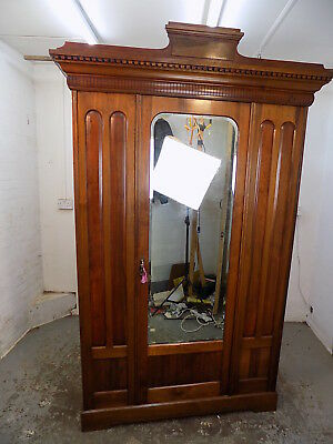walnut,wardrobe,bedroom,mirrored door,hanging,break down,shelf,antique,victorian