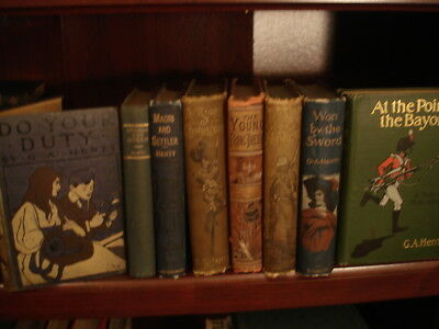 Lot of 8 VICTORIAN ESTATE LIBRARY of G.A. HENTY HISTORICAL ACTION & ADVENTURE
