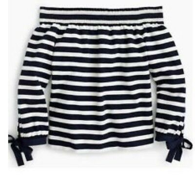 fa30021511b7a J CREW STRIPED long-sleeve off-the-shoulder top XS Navy -  54.99 ...