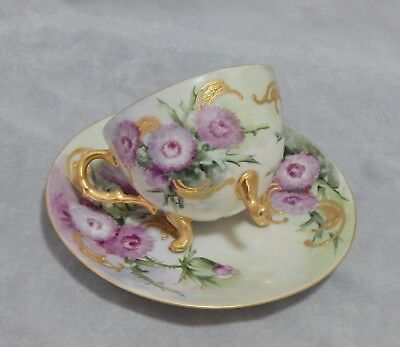 1904 Vienna Austria Antique Footed Cup & Saucer Hand Painted