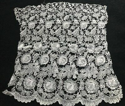 "14"" x 12"" Antique Wide Panel of Airshire Lace Trim Edging Embroidery on Veil AS"