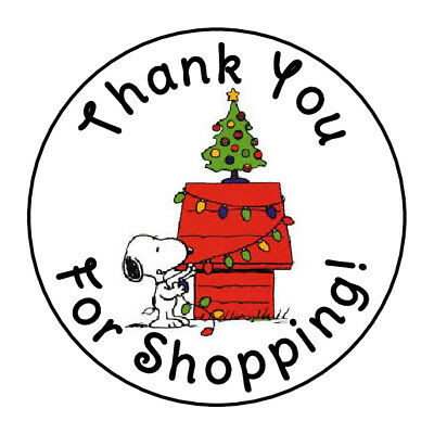 24 CHRISTMAS SNOWFLAKE THANK YOU FOR SHOPPING FAVOR LABELS ROUND STICKERS 1.67 /""