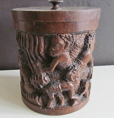 Vintage Antique Carved Wooden African Pot Caddy