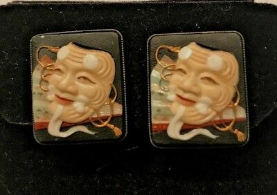 Japanese Toshikane Porcelain Noh Mask Earrings - Sterling Silver