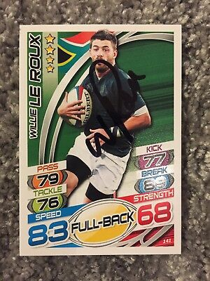 Signed Willie Le Roux South Africa Rugby Attax 2015 Card