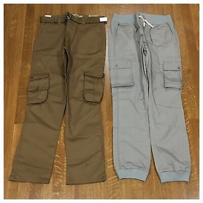 New Lot of 2 Pairs Mens Size 32 Fashion Jogger Cargo Belt Pants Brown and Gray