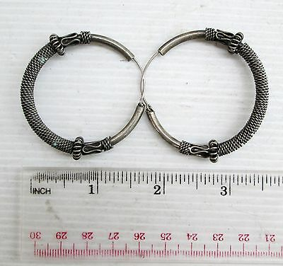 Old Hmong Hill Tribe Unisex Silver Earrings