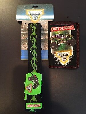 MONSTER JAM Truck Show GRAVE DIGGER Boys Tri Fold Velco Wallet & Belt NEW