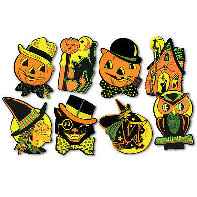 8 Retro HALLOWEEN Decorations Die Cut Cutouts Vintage Style BEISTLE Reproduction