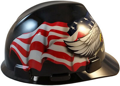 """MSA V-Gard Cap Style American Pride Safety Hard Hat One Touch Susp """"Made In USA"""""""