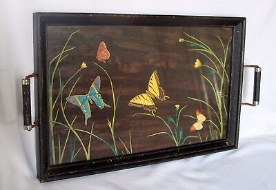 """Antique Tray with Handles ? Hand painted 17 x 11"""""""