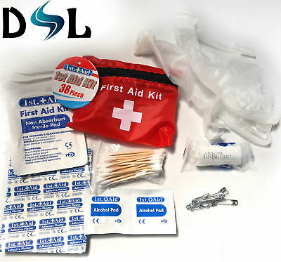 SMALL MINI HANDY SIZE 38pc FIRST 1ST AID KIT ZIPPED BELT POUCH RUNNING CYCLING