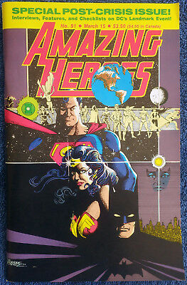 Amazing Heroes #91 - March 1986 Crisis on Infinite Earths analysis! High Grade!